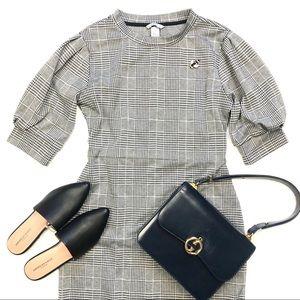 H&M black white herringbone plaid dress medium M